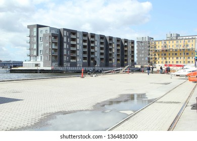 Aalborg, Denmark - June 15, 2018: New buildings in Aalborg seen during F2 boat race from the pit area