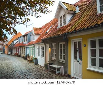 Aalborg, Denmark - October 11, 2017: Cozy little streets in the city center of Aalborg, Denmark