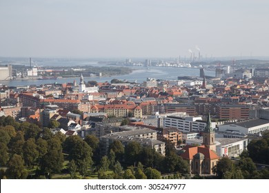 Aalborg, Denmark - September 20, 2014: Photograph taken from the top of the Aalborg tower in Denmark.