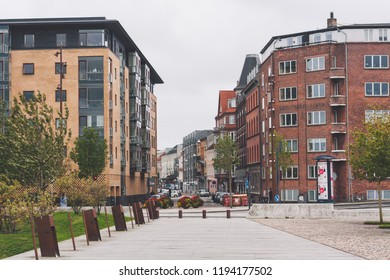 Aalborg / Denmark - September 2018: Walking around the city residential areas
