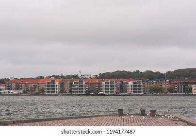 Aalborg / Denmark - September 2018: Windy quay in Aalborg