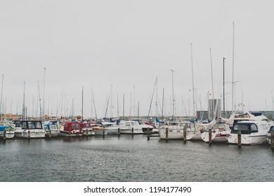 Aalborg / Denmark - September 2018: Aalborg yacht bay