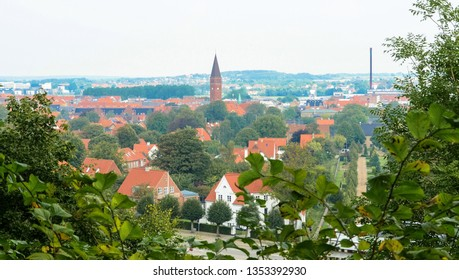 Aalborg, Jutland / Denmark - September 8th, 2016: General view of the city from the Aalborg Tower (Aalborgtårnet)