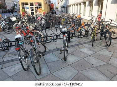 AALBORG-DENMARK-JULY 28, 2019:  The bicycle is a very popular transportation vehicle in Denmark.