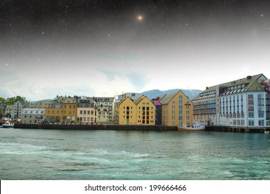 Aalesund night. Elements of this image furnished by NASA