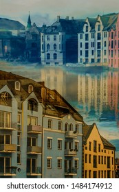 Aalesund Norway late summer, beautiful and colorful houses at the seaside with reflections.