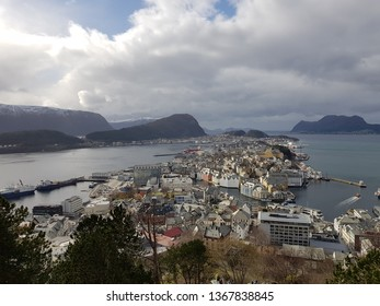 AALESUND, NORWAY MARCH 28 2019 Beautiful view of the Aalesund city
