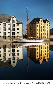 Aalesund/Norway-June 27, 2011: The city was rebuilt after a big city fire in 1904. Architects from all over Europe were hired to rebuild it. The city is one of Norway´s most beautiful,
