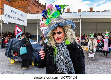 AALST, BELGIUM - FEBRUARY 11, 2018: Annual carnival procession on Sunday in Aalst, Belgium