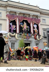 AALST, BELGIUM, FEBRUARY 28 2017: The main market square in Aalst, meeting point for the start of the annual 'Voil Jeanettenstoet', a traditional part of the carnival celebrations and unique to Aalst.