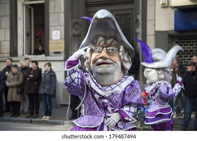 AALST, BELGIUM - MARCH 02 2014: Carnival procession on the streets in the center of Aalst, East Flanders