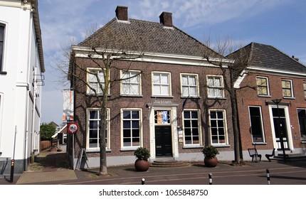 Aalten / Netherlands - April 10 2018: An old building in the dutch village Aalten in the Achterhoek with a museum 'Onderduikmuseum' about World War 2