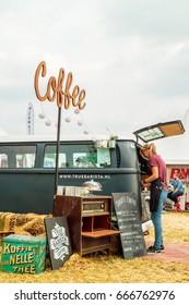 AALTEN, THE NETHERLANDS - JUNE 26, 2017: Volkswagen Transporter food and coffee truck on a country fair in Aalten, The Netherlands