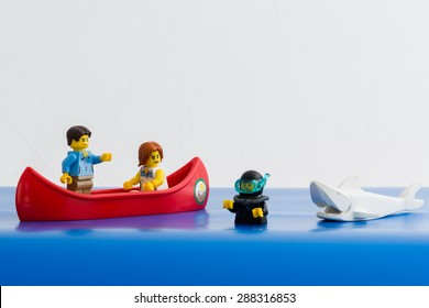 Aalter, Belgium - 16 june 2015: lego, canoe with 2 figures, a diver and a shark