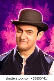 Aamir khan a Indian actor Self/ Digital Portrait with digital background painting