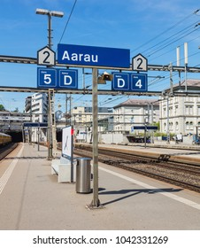 Aarau, Switzerland - 7 July, 2016: view from a platform of the Aarau railway station. The Aarau railway station  serves the municipality of Aarau, which is the capital of the Swiss canton of Aargau.