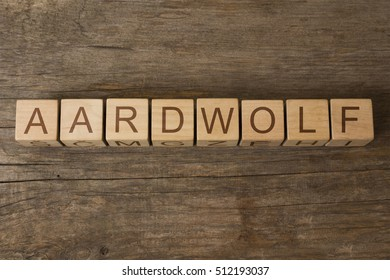 aardwolf word on a wooden cubes