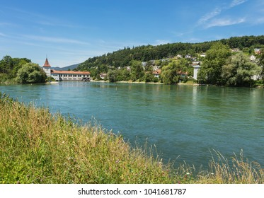 The Aare river, view from the town of Aarau in summertime. The Aare is longest river that both starts and ends within Switzerland, the town of Aarau is the capital of the Swiss canton of Aargau.