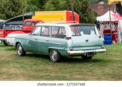 Aargau, Switzerland 2. September 2018 Rear side view of a classic 1963 Studebaker Lark Daytona Wagonaire at Route 66 Old car festival 2018