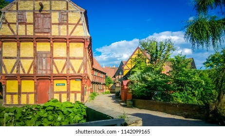 Aarhus, Denmark;  06 10 2016:  One of the beautiful traditional Scandinavian streets in the touristic Old Town, or Den Gamble By, an open-air town museum located in the Aarhus Botanical Gardens.