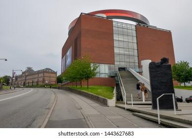 Aarhus, Denmark - 19 June 2019: people entering the ARoS art museum of Aarhus on Denmark