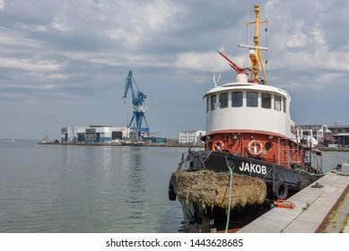 Aarhus, Denmark - 19 June 2019: the port of Aarhus in Denmark