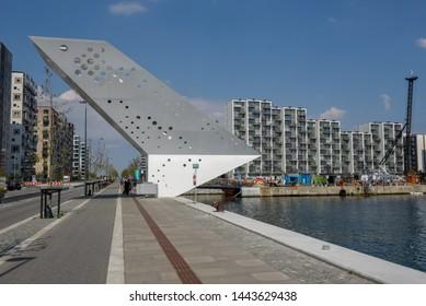 Aarhus, Denmark - 19 June 2019: Modern residential neighborhood at Aarhus in Denmark