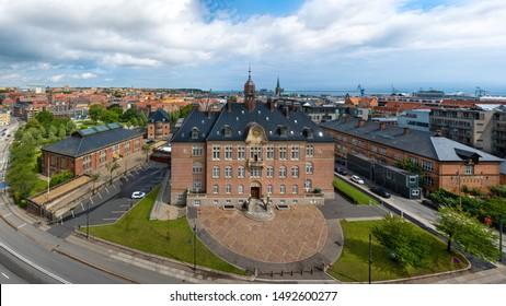 Aarhus, Denmark. Aerial view of the city wiht the Aarhus Court (Danish: Retten i Aarhus).