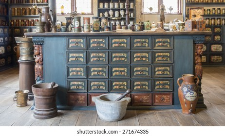 AARHUS, DENMARK - APRIL 12, 2015: Medieval pharmacy shop in the old town Den Gamle By in Aarhus
