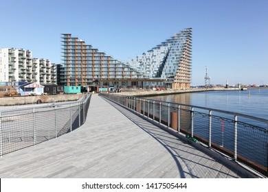 Aarhus, Denmark - April 18, 2019: Aarhus island with seaside residences and the new children theater, Denmark