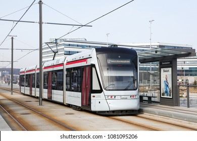 Aarhus, Denmark - April 8, 2018: Aarhus Letbane at a station. Aarhus letbane is a tram and tram-train system under construction in the city of Aarhus, Denmark since September 2013