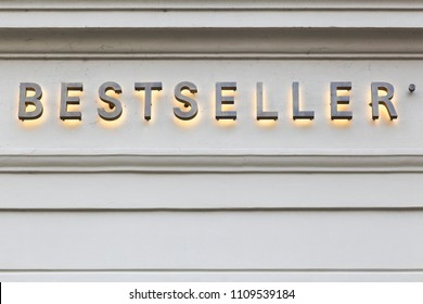 Aarhus, Denmark - April8, 2018: Bestseller logo on a facade of a store. Bestseller is a privately held family-owned clothing company based in Denmark. The company was founded in 1975 and has 11 brands