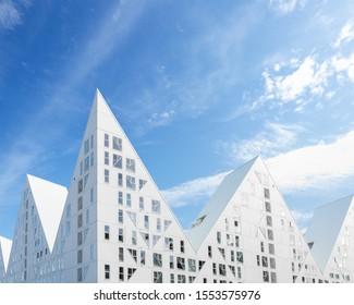 """AARHUS, DENMARK - AUGUST 01 2019: The modern, white """"Iceberg"""" (D"""