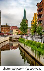 AARHUS, DENMARK - AUGUST 09, 2009: Canal scene from the Danish city of Aarhus.