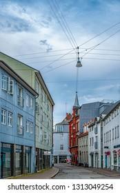 AARHUS, DENMARK - AUGUST 09, 2009: A quaint little street in the old part of Aarhus, Denmark.
