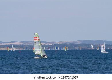 AARHUS, DENMARK - AUGUST 1, 2018: Danish 49'er at the Sailing World Championships on August 1, 2018 in Aarhus, Denmark