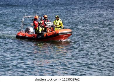 Aarhus, Denmark - August 10, 2018: Danish police on a boat in the harbor of Aarhus, Denmark