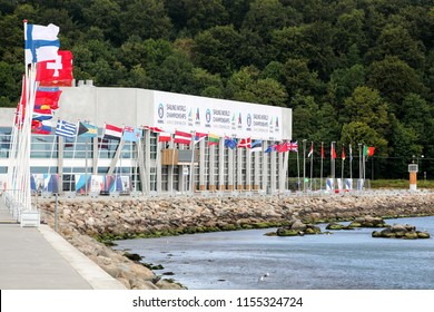 Aarhus, Denmark - August 10, 2018: Aarhus International Sailing Centre during the world sailing championship 2018 in Denmark