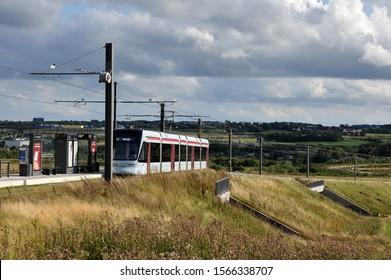 Aarhus, Denmark, August 2019. Photo of Aarhus new light railway system, launched in 2018