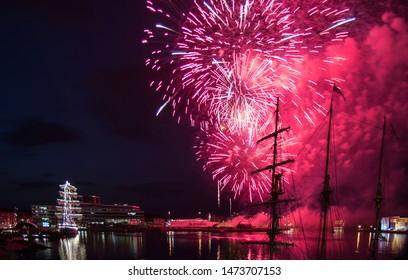 Aarhus, Denmark - August 3, 2019. Fireworks at Tall Ships' Race 2019 in Aarhus, DENMARK