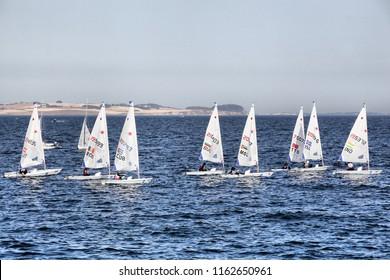 Aarhus, Denmark - August 7, 2018: Laser radial sailing world championship in Aarhus, Denmark