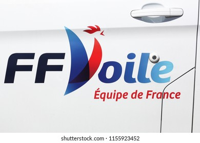 Aarhus, Denmark - August 9, 2018: French sailing federation logo on a car. The French sailing federation is recognised by the international sailing federation