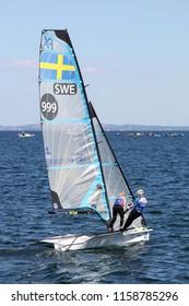 Aarhus, Denmark - August 9, 2018: Swedish 49er FX sailing ship during the sailing world championship 2018 in Aarhus, Denmark