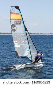 Aarhus, Denmark - August 9, 2018: Spanish 49er FX sailing ship during the sailing world championship 2018 in Aarhus, Denmark