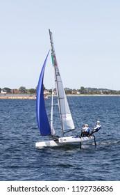Aarhus, Denmark - August 9, 2018: Italian nacra 17 sailing ship during the sailing world championship 2018 in Aarhus, Denmark