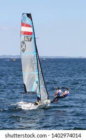Aarhus, Denmark - August 9, 2018: Women Austrian 49er FX sailing ship during the sailing world championship 2018 in Aarhus, Denmark