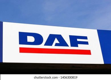 Aarhus, Denmark - February 24, 2019: DAF Trucks is a Dutch truck manufacturing company and a division of Paccar group. Its headquarters and main plant are in Eindhoven