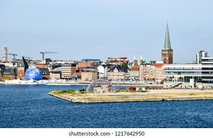 Aarhus, Denmark - July 20, 2017: Cityscape of Aarhus in Denmark