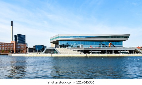 Aarhus, Denmark - July 20, 2017: Building of the library and cultural center Dokk1 in Aarhus in Denmark