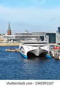 Aarhus, Denmark - July 20, 2017: The high-speed ferry EXPRESS 1 of the shipping company Molslinjen is moored in the port of Aarhus (Denmark).